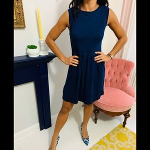 Loft Navy Blue Cotton Dress